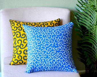 Blue Spirals // Ankara Throw Pillow Cover // African Print // 18 x 18