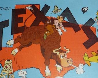 Texas Large Letter Vintage Linen Postcard  UNUSED