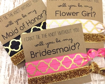 Will you be my Bridesmaid | Bridesmaid Proposal | Bridesmaid Hair Tie  Favors | To have and to hold your hair back