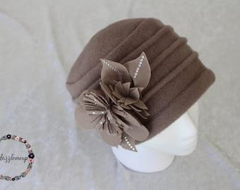 Womens Wool Hat - Floral Hat - Wool Cap - Winter Hat - Felted Wool Hat - Womens Hats - Floral Wool Hat - Wool Cap for Women