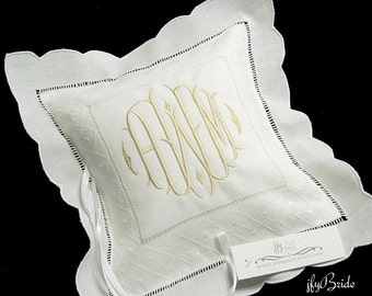 Personalized ring bearer pillow Custom ring bearer pillow in Irish linen personalized with monogram Wedding ring pillow  jfyBride Style 8635