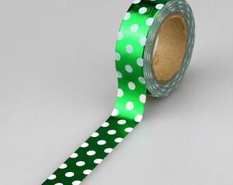 White Star / Green Foil  Washi Tape, Embellishment, Craft Tape, Decorative Tape, Printed Tape, Scrapbooking Tape (2A-2)