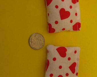 2 Red Hearts Rice Bags - Nail Application - Hot or Cold Compress - Pick Your Size - Reusable Rice Bags