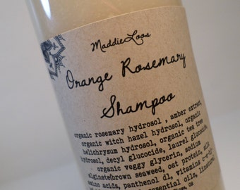FREE SHIPPING-ORGANIC Orange Rosemary Herbal Shampoo with Vitamins & Herbal Extracts-8oz. Gluten Free