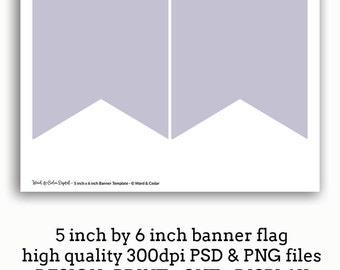5 x 6 Bunting Flag Banner Template Pennant - INSTANT DOWNLOAD - Printable Banner - Make Your Own Printables - Party Printable - DIY Decor