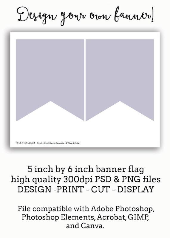 5 x 6 Bunting Flag Banner Vorlage Pennant sofort-DOWNLOAD