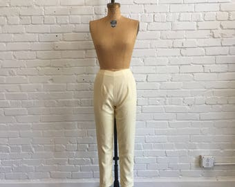 1960s Yellow White High Waisted Pants // 60s Cotton Lanz Pants // Vintage 1960s Striped Summer Ankle Length Pants
