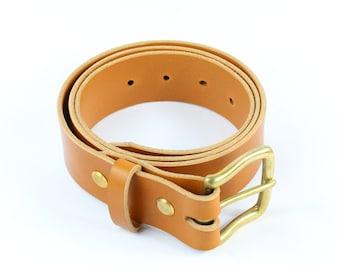 "Handmade Classic Brown Leather Belt - 1.5"""