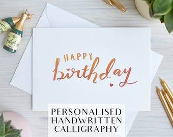 Custom Handwritten Birthday Card   Personalised Text   Greeting Card   Customise Text and Colour   Handwritten, Calligraphy, Brush Lettering
