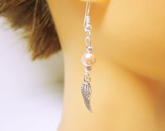 EARRINGS Tiny Feather Earring With A Pink Pearl Small Silver Feather Wonderful Gift Idea For Her