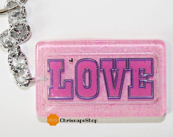 Resin key Ring ' Love ' (2 different pieces)