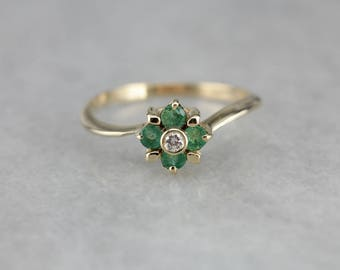 Sweet Emerald and Diamond Ring, Emerald Flower Ring, May Birthstone W2TNXZ-D