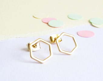 Hexagon Gold Stud Earrings