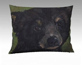 Standard Size Bear Cub Pillow Case 26 x 20  Decorative Pillow Nursery Pillow Velveteen or Canvas