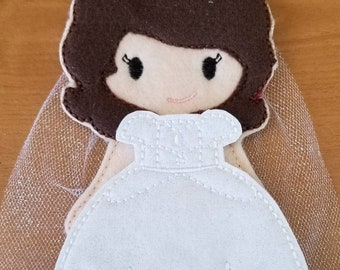 1st Communion, Bride, Felt Dress Up Doll