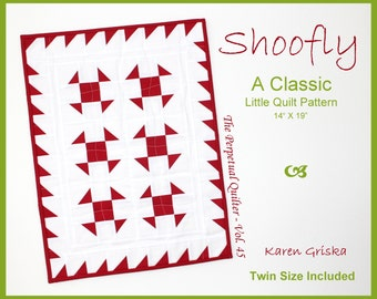 """Shoofly Quilt Pattern, Classic Little Quilt Pattern, 14"""" x 19,"""" Includes Twin Size 60"""" x 75"""", Traditional Quilt, Instant Download, qtm"""