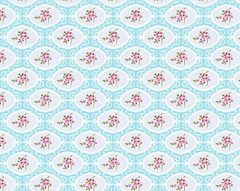 Cherry Blossom - Blue - Charlotte by Tanya Whelan from FreeSpirit - Floral Fabrics - Tanya Whelan Fabrics - Charlotte Fabrics - Free Spirit