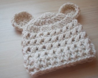 Crochet Teddy bear hat, newborn bear hat, bear baby hat, newborn hat, take home outfit, baby hat with ears, hospital hat, bear hat baby