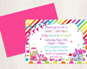 Candyland invitation etsy candyland birthday invitation candy land party sweet shoppe birthday invitation girls candy birthday stopboris Gallery
