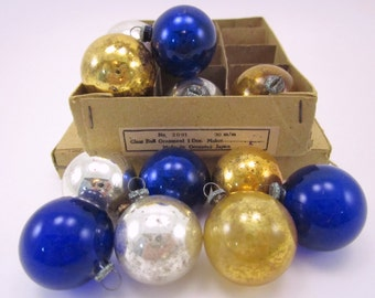 Occupied Japan Mercury Glass Feather Tree Ornaments, Boxed Set of 12