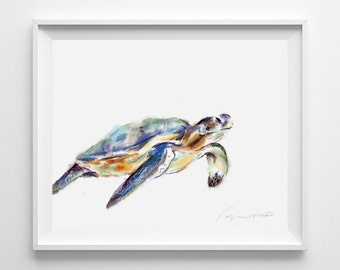 Turtle Painting, Sea Turtle Art, Sea Turtle Wall Decor, Turtle Art Print, Ocean Art, Turtle Nursery Art, Ocean, Underwater, Watercolor