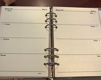A5 WHITE GOLD WO2P Shimmer Planner Inserts Refill, Organiser, Calendar, Printed, Horizontal EC,Dated/Undated Louis Vuitton Agenda 2017 2018