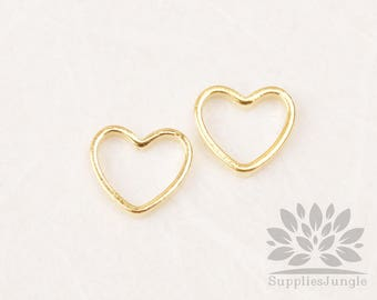 A348-00-GG// Glossy Gold Plated Tiny Heart Link, 8pcs