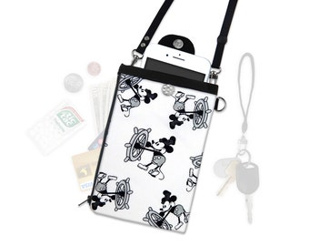 Disney Mickey Mouse Steamboat Willie Crossbody Phone Wallet Hip Bag Travel ID Wallet Vacation Wallet Passport Wallet Adjustable Straps