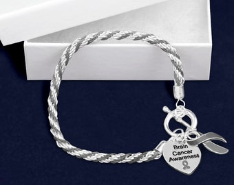 Brain Cancer Gray Ribbon Rope Bracelet in a Gift Box (1 Bracelet - Retail) (RE-B-02-7BC)