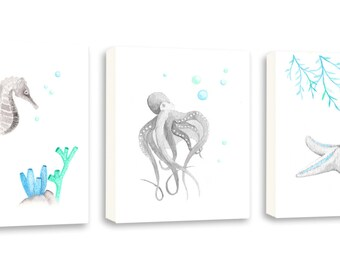 Sea Life Nursery Art, Octopus Wall Art, Ocean Themed Nursery Decor, Kids Wall Art, Nautical, Seahorse, Starfish, Canvases - S089