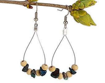 Turquoise gemstone earrings, chrysocolla jewelry, nature inspired earrings, silver wire earrings, wood jewelry, turquoise jewelry, waina