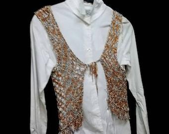 Bolero Vest crochet-top yarn multicolor airy light loose mesh dimension Vintage
