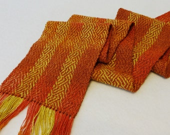 Hand Woven Scarf - Hand-dyed Scarf - Woven Scarf, Handwoven Scarf, Coral Scarf - Dark Coral Sea - #08-15