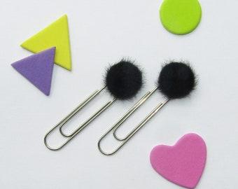 Black Pom-Pom Paperclip (Set of 2) *FREE UK POSTAGE*