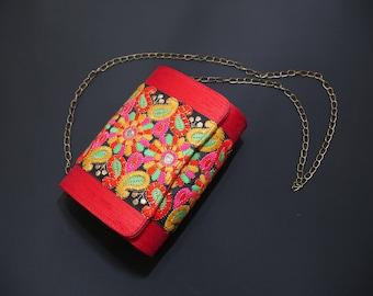 Vintage, Indian Ethnic, Embroidered Designer Purse, Hippie, Boho Clutch Aari Sequins Craft Bag