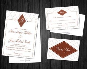 Geometric Romance Wedding Invitation Set