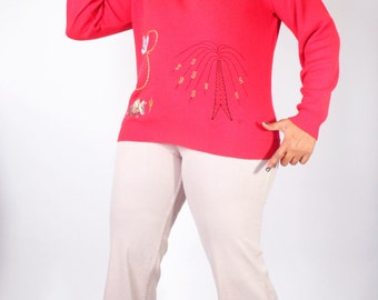Vintage 90's Sweater // Don't Mess With TEXAS Red Novelty Embroidered  Sweater // Vintage Plus Size Sweater (sz L XL)