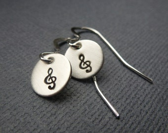 Sterling Silver Earrings - Tiny Hand Stamped Clef Earrings - Ready to Ship!