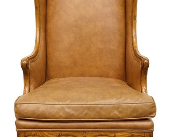 HENREDON Brown Leather Wing Back Accent Chair