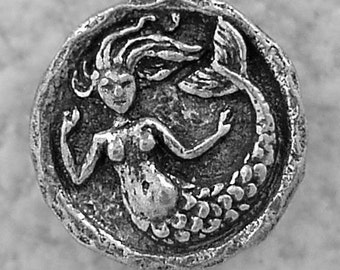 Green Girl Studios Small Mermaid Pewter Button