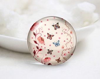 Round Glass Photo Cabochons Photo Glass Cabs-Butterfly (P3200)