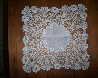 Antique Lace hand done wedding hanky 1800s