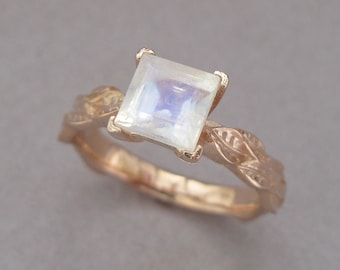 Moonstone Engagement Ring, Rose Gold Leaf Ring Square Cut Moonstone, Princess Cut Ring, Antique, Gold Nature Inspire Leaves Ring