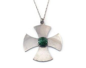 Bethlehem Sterling Silver Maltese Cross Necklace - Sterling Pendant, Israel Jewerly, Bethlehem Cross, Vintage Cross, Vintage Necklace