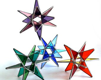 NEW Stained Glass Moravian Stars - Four Seasons 4 Stars-Home Decor -  3 Sizes