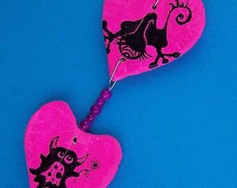 Monster crush Pink Hanging Hearts/Art/Home Decor/Oddities
