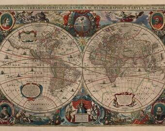 Antique map of the World, 1641, huge antique map, fine art print