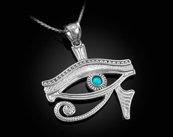 Sterling Silver Egyptian Eye Of Horus Turquoise Pendant Necklace