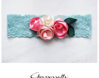 CCC013 - Mint green lace baby girl headband with handmade pink, fuchsia and ivory satin roses and forest green green satin leaves.