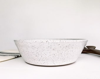 LARGE White Speckled Pottery Serving Bowl, Fruit Bowl, Salad Bowl, Popcorn Bowl, Decorative Bowl, Large Ceramic Bowl